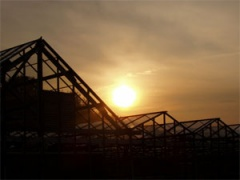 sun over greenhouses