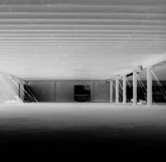 empty building, inverted bw
