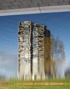 distorted building reflection