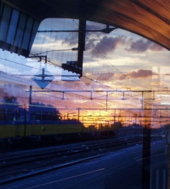 trainstation sunset reflection