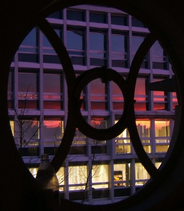 sunset reflection through round window